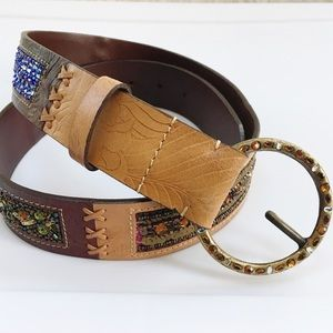 CHICO'S Sequin Ornate Embossed Leather Belt-S/M